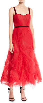 Marchesa Textured Tulle Gown w/ Corset Bodice & Velvet Trim