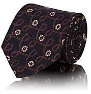Tie Your Tie Men's Geometric-Swirl-Pattern Silk Faille Necktie-Navy