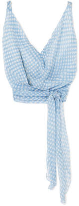 Cloe Cassandro - Santi Draped Printed Silk-crepon Top - Light blue