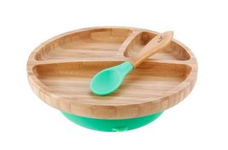 Baby Essentials Avanchy AVANCHY STAY-PUT TODDLER BAMBOO SUCTION PLATE+SPOON, GREEN