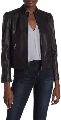 Lucky Brand Puff Sleeve Leather Jacket