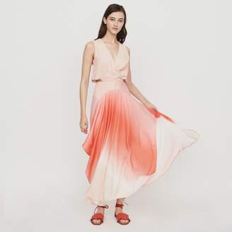 Maje Long tie dye dress in satin