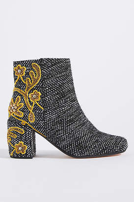 Coral Blue Herringbone Tweed Ankle Boots