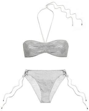 Missoni Mare Metallic Crochet-knit Bandeau Low-rise Bikini