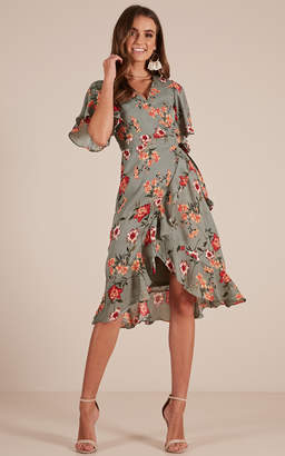 Showpo Take Cover dress in sage floral