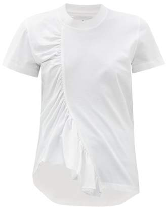 Marques Almeida Marques'almeida - Asymmetric Ruched Cotton T Shirt - Womens - White
