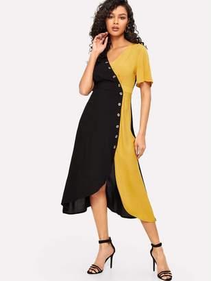 SheinShein Asymmetric Buttoned Placket Two Tone Wrap Dress
