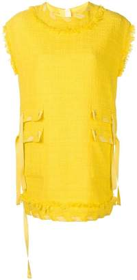 MSGM tweed-style frayed shift dress