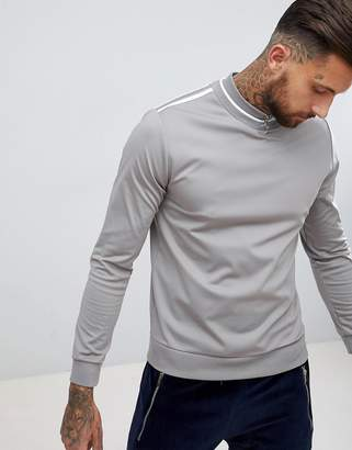 Asos DESIGN Retro Track Sweatshirt With Zip Mock Turtleneck