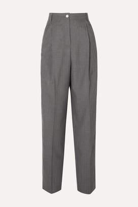 Acne Studios Peggerine Pleated Herringbone Wool Tapered Pants - Gray