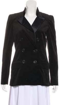 Tibi Lace-Paneled Velvet Blazer