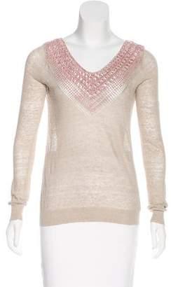 Theyskens' Theory Crochet-Trimmed Linen Top