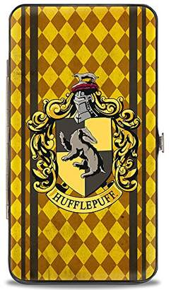 Buckle-Down Hinge Wallet - HUFFLEPUFF Crest Stripes/Diamonds Gold/Browns