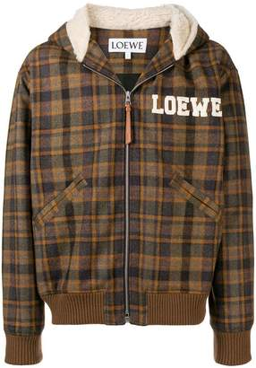 Loewe embroidered tartan bomber jacket