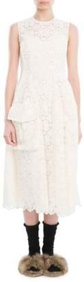 Simone Rocha Sleeveless Organdy Lace Midi Dress, Ivory