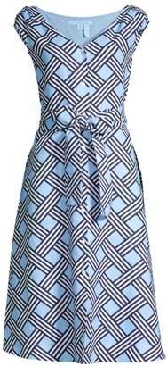 Draper James Lattice Button-Front Linen Midi Dress