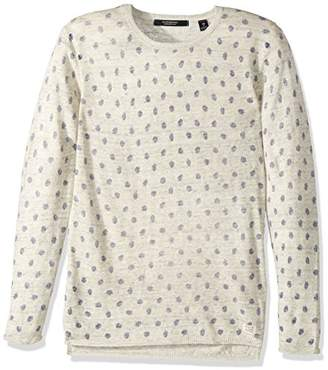 Scotch & Soda Men's Crewneck Pullover in Linen Quality with Mini All-Over Print
