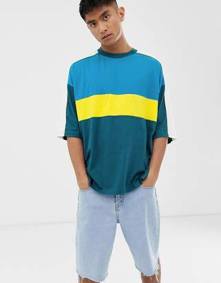 Asos Design DESIGN oversized t-shirt with contrast tipping and colour block in blue