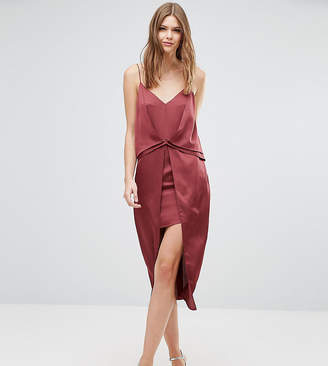 Asos Tall TALL Drape Front Cami Midi with Zip Back Dress