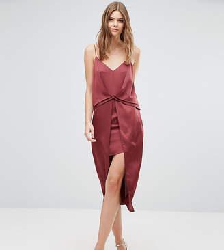 Asos Tall TALL Drape Front Cami Midi with Zip Back Dress