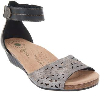50240acd13f at QVC · Earth Origins Wedge Sandals with Ankle Strap - Honey