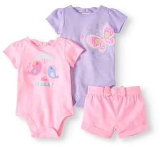 Garanimals Baby Girl Back-Bow Bodysuit & Woven Shorts, 2pc Outfit Set