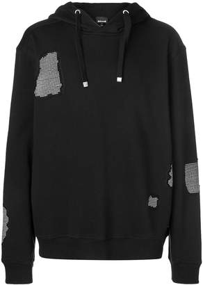 Just Cavalli studded patch detail hoodie