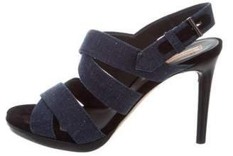 Reed Krakoff Denim Crossover Sandals