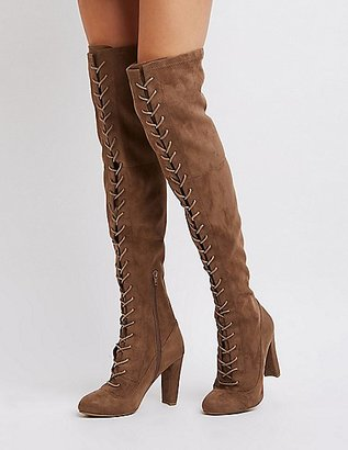 Lace-Up Faux Suede Over-The-Knee Boots $45.99 thestylecure.com