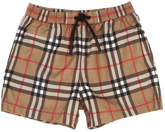 Burberry Checked Nylon Swim Shorts