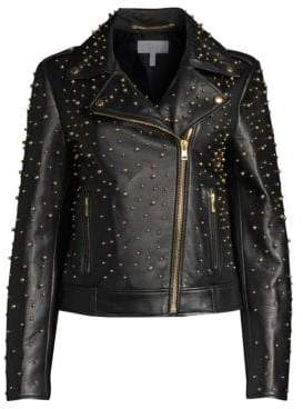 Escada Sport Women's Studded Leather Jacket - Black - Size 34 (4)