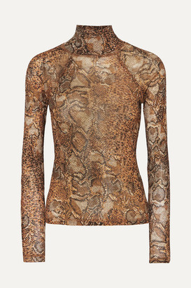 162818f00717 Nanushka Madi Snake-print Stretch-jersey Turtleneck Top - Brown