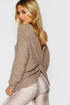 boohoo Petite Knot Back Soft Knit Jumper