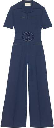 Gucci Wool silk belted jumpsuit
