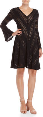 BCBGMAXAZRIA Bell Sleeve Lace Fit & Flare Dress