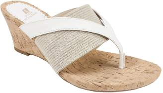 White Mountain Wedge Thong Sandals - Alanna