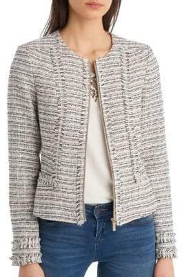 Multi-Tweed Zip Jacket