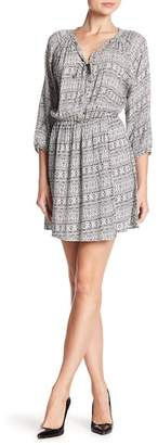 Collective Concepts V-Neck Print Front Tie Dress
