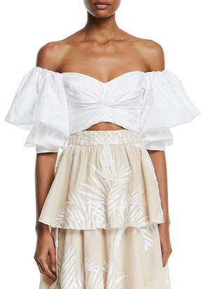 Johanna Ortiz Pearl City Off-The-Shoulder Bow-Back Puff-Sleeve Crop Top