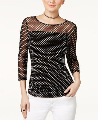 INC International Concepts Illusion Polka-Dot Top, Only at Macy's $49.50 thestylecure.com