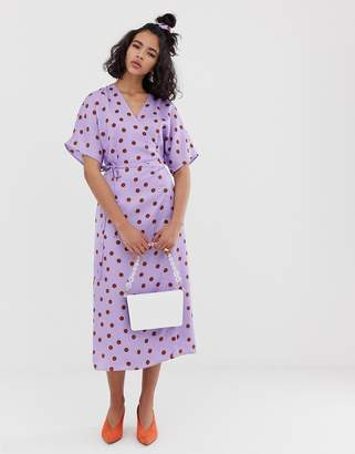 Gestuz Elsie polka dot sateen wrap midi dress with matching hair scrunchie
