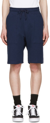 Noah NYC Navy Solid Lounge Shorts $100 thestylecure.com
