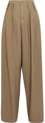 Howard Woven Wide-leg Pants - Beige