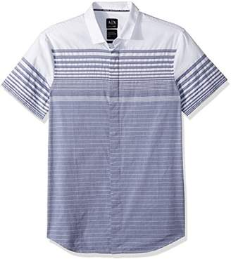 Armani Exchange A|X Men's Grey Stripe Button Down Shirt