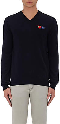 Comme des Garcons Men's Double-Heart-Patch Wool Sweater - Navy
