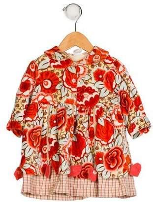 Oilily Girls' Velvet Floral Dress