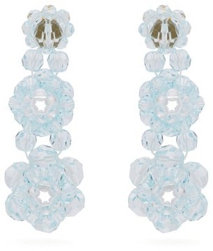 Simone Rocha Floral Beaded Drop Earrings - Womens - Blue