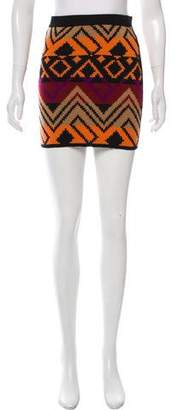 Torn By Ronny Kobo Wool Pattern-Knit Mini Skirt