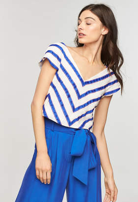 Milly WASHED LINEN STRIPE SOPHIA TOP