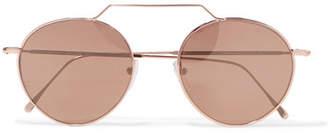 Illesteva Wynwood Ii Round-frame Rose Gold-tone Sunglasses